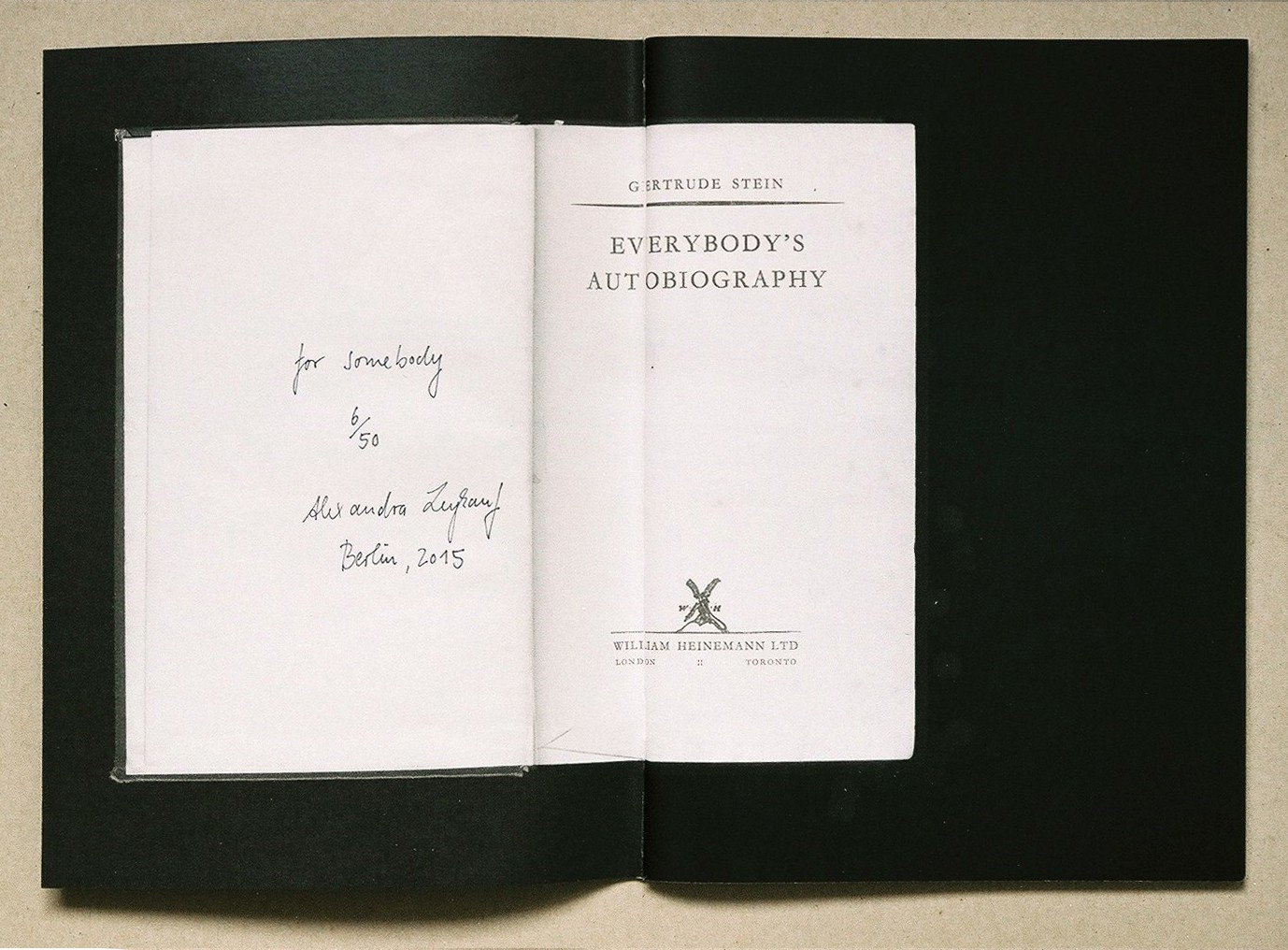 Everybody's Autobiography, Alexandra Leykauf, artist book
