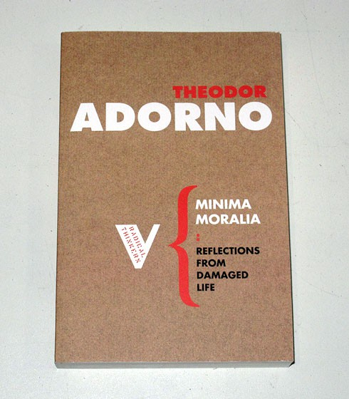 """capitalism as described in minima moralia by thedor adorno Minima moralia by theodor adorno  was modeled after the goat described in  the verse, """"i'm so stuffed / can't eat any more, meeeh, meeeh  the """"melting pot """" [in english in original] was an institution of free-wheeling industrial capitalism."""