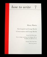 how to write 7: Ein Gespräch mit George Brecht / A Conversation with George Brecht