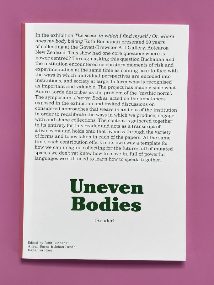 uneven-bodies-a-reader-ruth-buchanan-aileen-burns-johan-lundh-hanahiva-rose-eds-govett-brewster-art-gallery-9781988543093-1