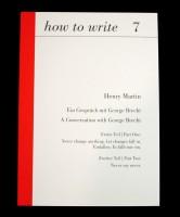 how to write 7: Ein Gespräch mit George Brecht / A Conversation with George Brecht