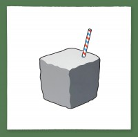 Rock with a straw