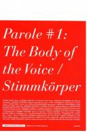 Parole #1: The Body of the Voice / Stimmkörper